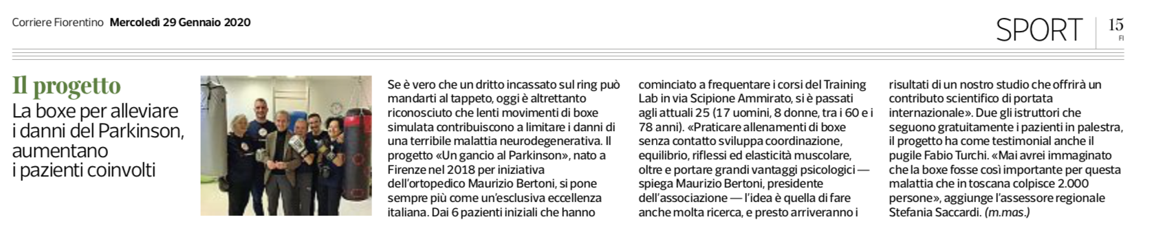 Corriere Fiorentino - Un Gancio Al Parkinson