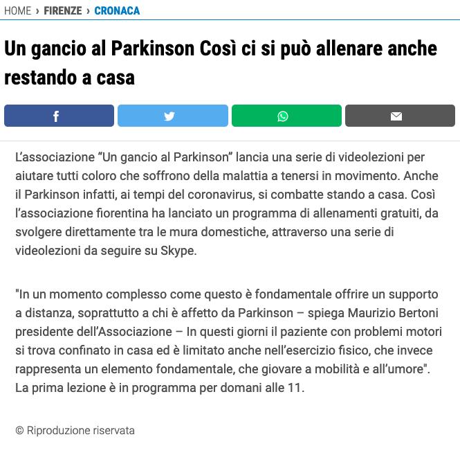Ringraziamo Adnkronos, La Nazione, Firenze Today e Qui News Firenze - Un Gancio Al Parkinson