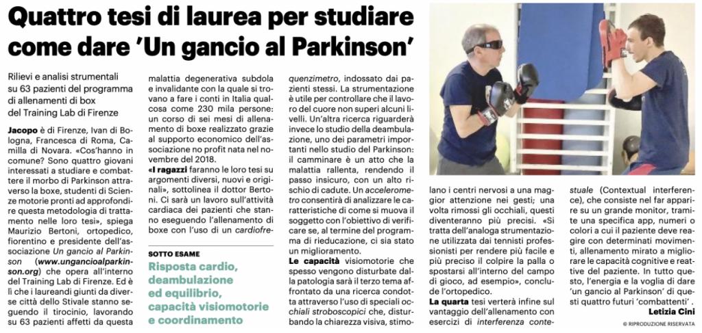"""Quattro tesi di laurea per studiare come dare """"Un Gancio al Parkinson"""""""